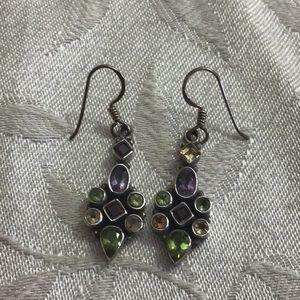 Vintage Sterling + Gemstone Earrings